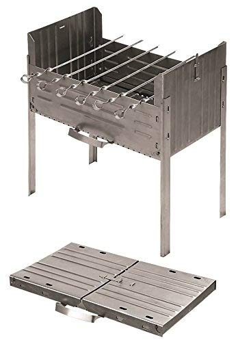 Books.And.More Folding Mangal Steel Charcoal Grill – Satay Grill, Portable BBQ Grill, Yakitori Grill, Kebab Grill, Shish Kebab, Shashlik, Spiedini on The Skewer