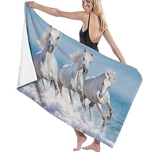 Toallas de playa suaves de caballo y océano blanco equino tres caballos salvajes paisaje natación yoga camping baño y playa toalla para la natación deportes playa gimnasio