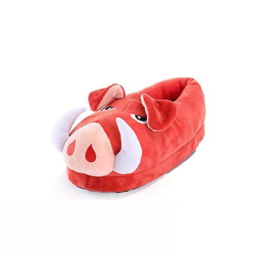 YXX Mädchen Hausschuhe Jungen Winter Baumwolle Pantoffeln Wildschwein Wärme Weiche Kuschelige Home rutschfeste Slippers Mit Cartoon Für Herren Damen,Rot,27cm