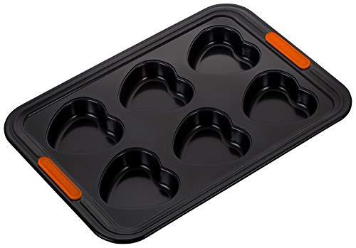 Le Creuset Stampo Antiaderente per 6 Muffin a Forma di Cuore, PFOA Free, Resistente alle Sostanze Acide, Finitura in Acciaio al Carbonio, Antracite/Arancio