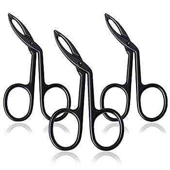 3 Pcs Eyebrow Tweezers pengxiaomei Stainless Steel Scissor Handle Tweezers Slant Tip Tweezer Clips Remover for Eyebrow Nose Hair