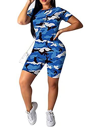 Conjunto de 2 piezas de verano sexy de camuflaje para mujer, camiseta de manga corta + pantalones cortos bodycon chándal mamelucos