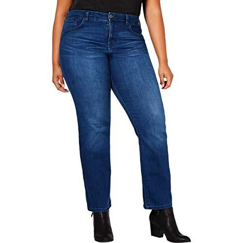 Style & Co. Womens Plus Denim Tummy Control Classic Straight Jeans Blue 16W