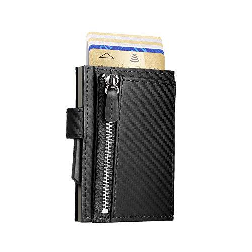 Ögon Smart Wallets - Cascade Wallet cierre con presión - Cartera automática de aluminio y piel con bolsillo para monedas - Tarjetero RFID - 8 Tarjetas y billetes - Cuero Carbon / Aluminio Titanio
