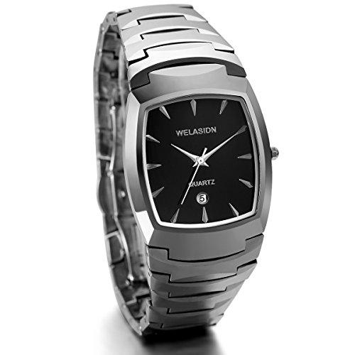 JewelryWe Herren Armbanduhr, Edle Business Casual Kalender Analog Quarz Uhr mit Wolfram Wolframcarbid Armband, Silber