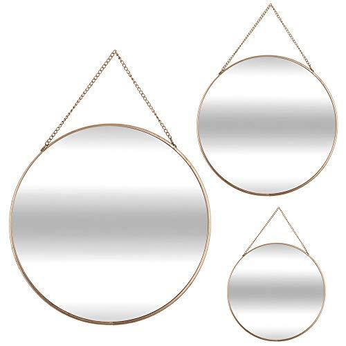 Juego de 3 espejos redondos de oro con cadena