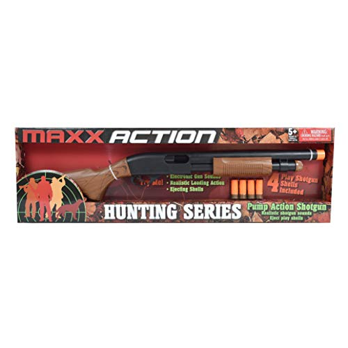 Sunny Days Entertainment Pump Action Blaster – with Realistic Sounds and Ejecting Play Shells | Hunting Role Play Toy | Cowboy Costume for Kids – Maxx Action, Wood Grain