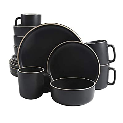 Gibson Home Zuma 16 Piece Round Kitchen Dishes, Plates, Bowls, Mugs Dinnerware Sets, Service for Four (16pcs), Black