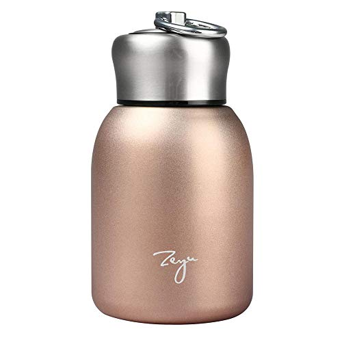 Portable Small Vacuum Cup Thermo Flask,Mini Stainless Steel Matte Insulated Water Bottle Flask for Hot and Cold Drinks Cup Travel, Sports Water Bottle 280ML (Rose gold)