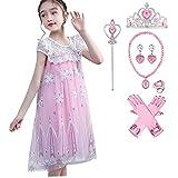 Disfraz de princesa Elsa para niñas, disfraz de reina de la nieve, disfraz de carnaval, Halloween, Navidad, cosplay de tul capa de princesa accesorios