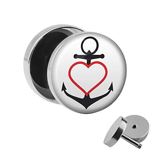 Treuheld | Ohrstecker zum Schrauben - Anker mit Herz - schwarz-rot-weiß Motiv Fake-Plug - Ø 10mm Silber - Motiv Fake-Plug Edel-Stahl Ohr-Ringe - Chirurgen-Stahl 316L Fake-Tunnel - Gewinde Ohr-Stecker