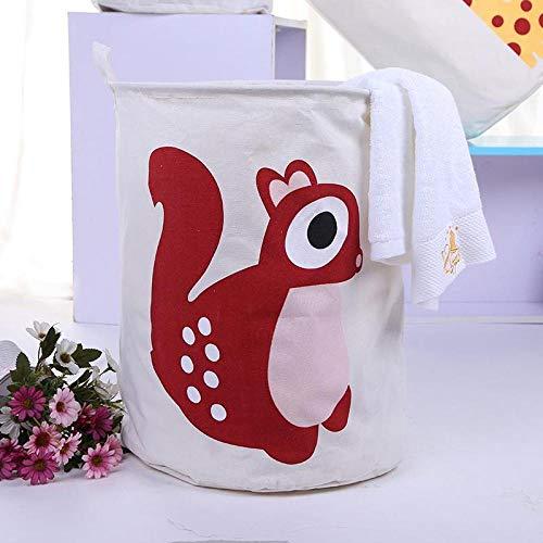 Cesta de almacenamiento impermeable plegable Cesta de lavandería de tela de animales de dibujos animados grande Cesta de almacenamiento de artículos diversos de juguete-Ardilla