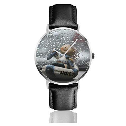 Relojes Anolog Negocio Cuarzo Cuero de PU Amable Relojes de Pulsera Wrist Watches Gotas de Lluvia