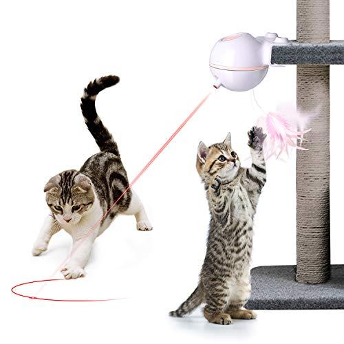 Nice Dream Katzen Federspielzeug, 360° Drehung Elektrisch Katzenspielzeug Federstab Intelligenzspielzeug Interaktives Spielzeug für Katzen (Pink)