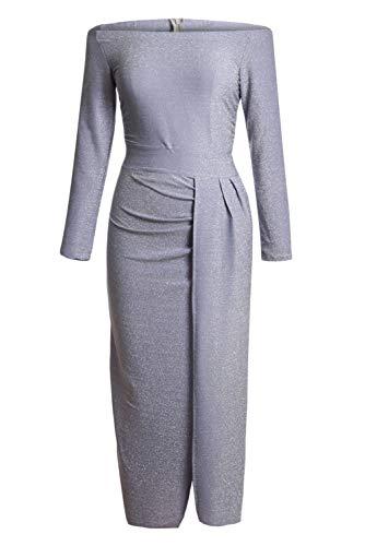 Tiksawon Off Shoulder Side Slit Dress Shiny 3/4 Sleeve Solid Elegant Slim Evening Party Dress for Women Ladies Grey M