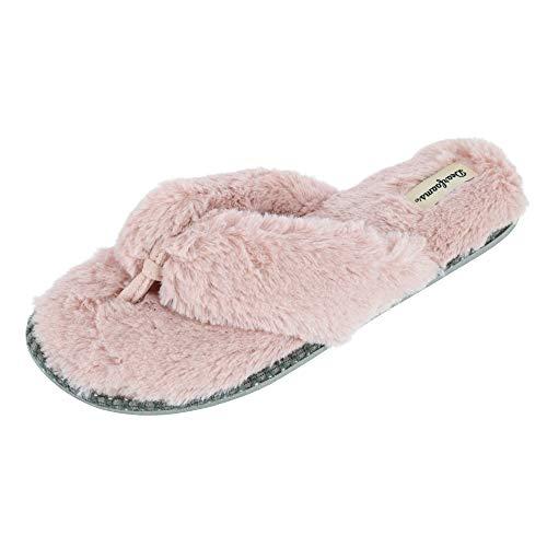 Dearfoams Women's Marie Furry Thong Slipper, Dusty Pink, Large