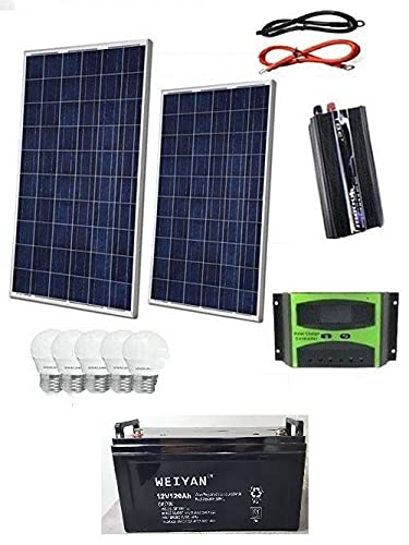 Kit Fotovoltaico 2 KW Pwm Inverter 2000W Pannello Solare 200W Batteria 120 AH 5 LAMPADINE 6 WATT LUCE FREDDA