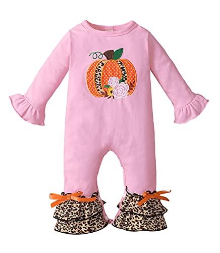Siyova Conjunto de disfraz para bebé de Halloween de manga larga + banda de pelele para niña con impresión de calabaza, araña, ppelele de bebé completo, bonito disfraz de Halloween, Rosa, 12-18 meses