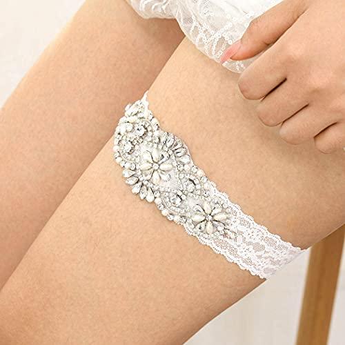 IYOU Brillante Cristal Novia Liga Costoso Diamante de imitación Cinturones de pierna Boda Nupcial Paseo Cordón Liga por Mujeres y Chicas