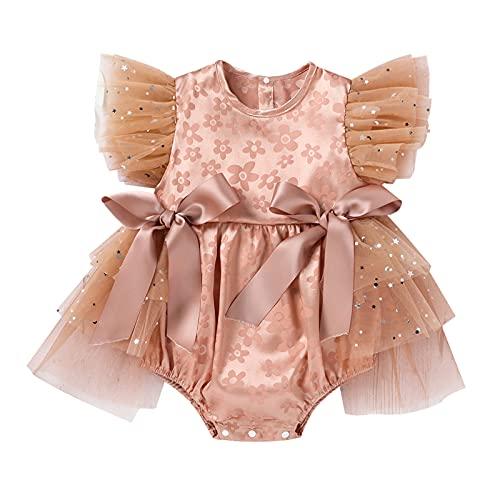 YWLINK Falda del Vestido del Mameluco del Mameluco del TriáNgulo del Hilo Neto del Bowknot del Jacquard del Bebé De La NiñA Vestido De Fiesta De CumpleañOs De Mono De Tul Vestido Princesa Brillante