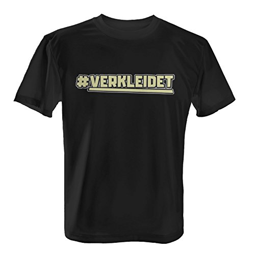 Fashionalarm Herren T-Shirt - # Verkleidet | Fun Shirt mit Hashtag | Verkleidung für Karneval Fasching Rosenmontag Halloween Kostüm Party, Farbe:schwarz;Größe:4XL