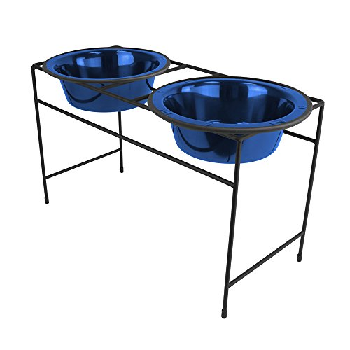 Platinum Pets Modern Double Diner Feeder with Stainless Steel Cat/Dog Bowl, Large, Sapphire Blue
