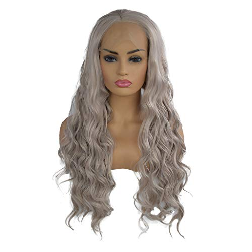 Perruques Bresiliennes Avec Lace Frontal Cheveux Humains Femme Long Curly SynthéTiques Pas Cher Wig Sexy Mode Chic Postiches (Gris)