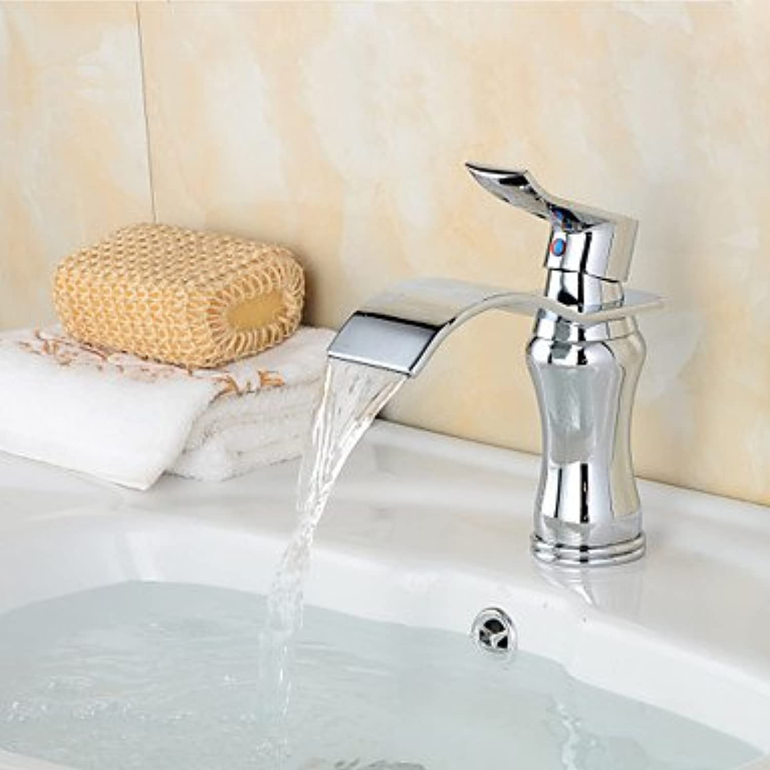 AA Faucet£? Copper chrome contemporary waterfall bathroom sink faucet-silver