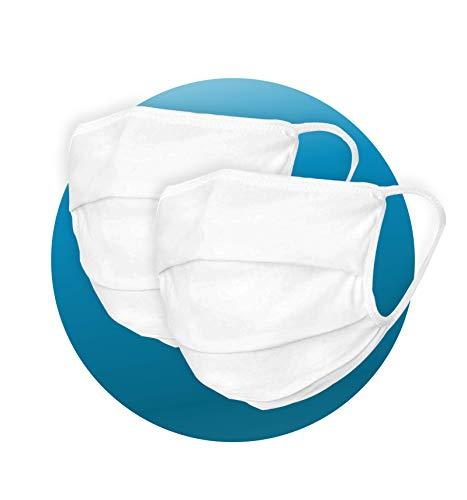 2 x Pack Mundschutz aus 99% Bio-Baumwolle in weiß für Erwachsene