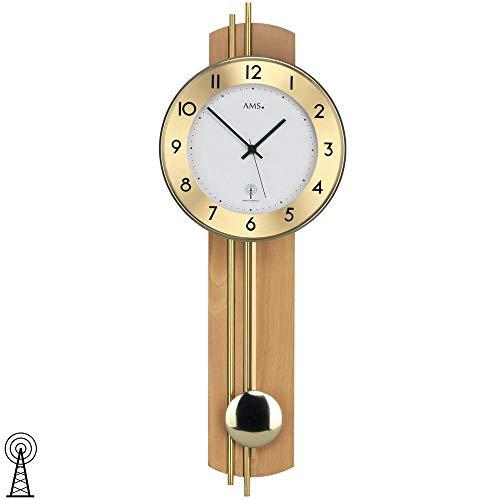 AMS Reloj de pared con péndulo, panel posterior de madera de haya chapada, varillas de latón