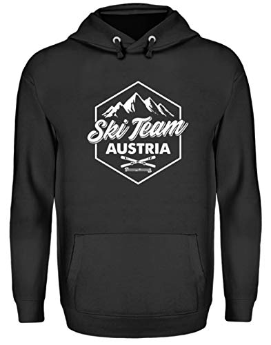 EBENBLATT Apres Ski Team Austria Skiurlaub Österreich Geschenk Geschenkidee für Ski Fahrer - Unisex Kapuzenpullover Hoodie -XXL-Jet Schwarz