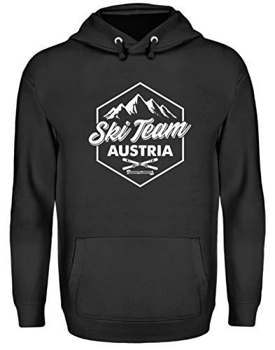 EBENBLATT Apres Ski Team Austria Skiurlaub Österreich Geschenk Geschenkidee für Ski Fahrer - Unisex Kapuzenpullover Hoodie -L-Jet Schwarz