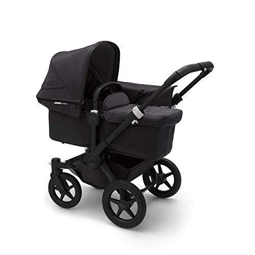Bugaboo Donkey 3 Mono Single to Double Convertible Side by Side pram and Pushchair, Foldable Lightweight Stroller with Black Sun Canopy and Black Chassis