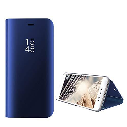 ompatibel mit Huawei Honor 10 Hülle, Handy Schutzhülle für Huawei Honor 10 Spiegel Hülle Flip Folio Case [Standfunktion] Dünn Clear View PC Plastik Anti-Scratch Hard Cover (Blau, Huawei Honor 10) - 5