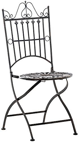 CLP Stuhl Sadao I Klappbarer Gartenstuhl mit edlen Verzierungen I Lehnstuhl aus Eisen I Klappstuhl, Farbe:Bronze