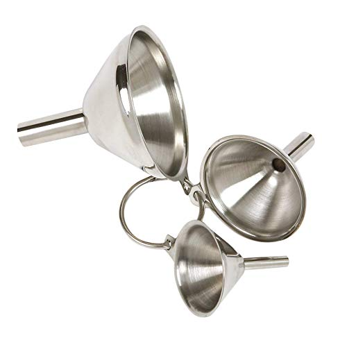 Wffo - Juego de 3 embudos de Acero Inoxidable portátiles y prácticos, Filtro de colador Desmontable, Embudo pequeño