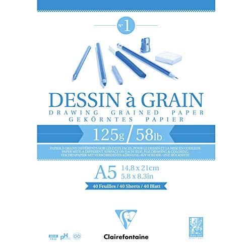 Clairefontaine 96686C Bloc Encollé Papier Dessin à Grain - 40 Feuilles Papier Dessin au Grain Marqué - A5 14,8x21 cm 125g