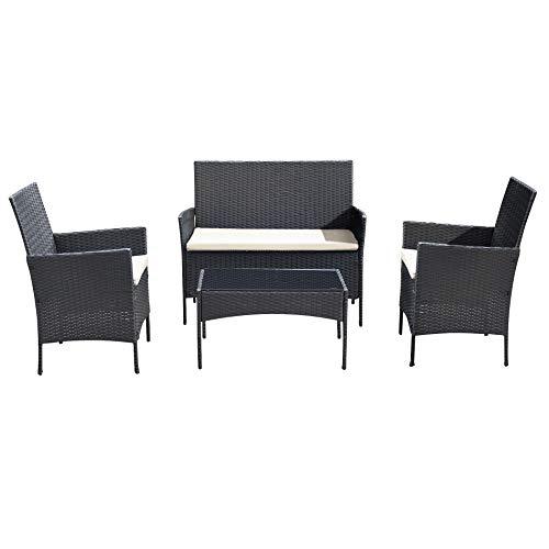 Ribelli 4-teiliges Gartenmöbel Set, Lounge Set, cremefarbenen Kissen – aus PE-Rattan – Tisch Plus Zwei Stühle und 1er Bank – praktisch zu verstauen (4 TLG. schwarz/Cream)