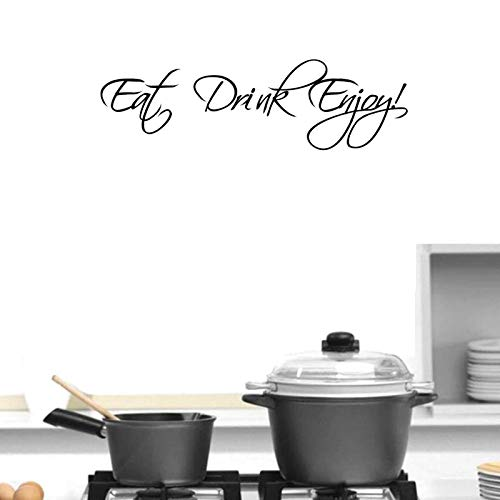 BIBITIME 22.44'x6.69' Vinyl Wall Decal Quote Eat Drink Enjoy Sign Inspirational Sayings Decor Sticker for Kitchen Eating Room PVC Art Mural