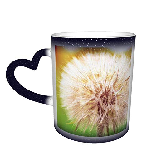 Kern des Löwenzahn-Sternenhimmels Farbwechselnder Becher, Farbwechselnder magischer Kaffee-Keramikbecher, ein neuartiges und interessantes Geschenk, ein Geschenk für den Valentinstag, 11 Unzen