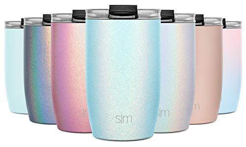 Simple Modern 355 ml (12oz) Voyager Termo Taza con Paja - Vaso Termico de Viaje Café Termica para Llevar Acero Inoxidable Botella de Agua Reluciente: Aqua Aura