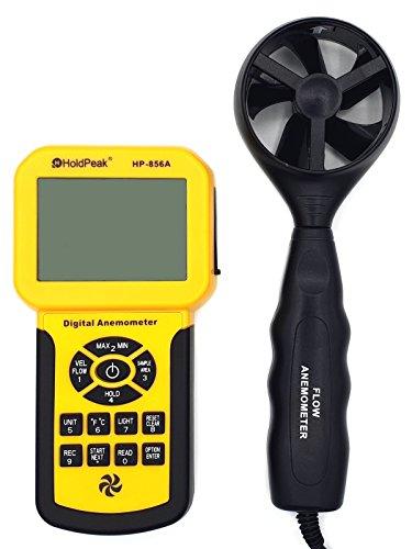 HoldPeak HP-856 Digitales Flügelrad Anemometer Windmesser mit USB Schnittstelle Software externer Sensor PC Grau/Gelb