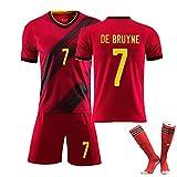 RHSD Uniforme de Football pour Enfants Adultes, De bruyne7 R.lukaku9 E.hazard10 Coupe d'europe Belgique 2020 Nouveau T-Shirt de Football à Domicile, Nettoyage répétable, Choix des supporters-red7-L
