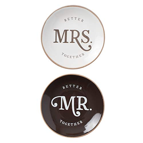 Mr. and Mrs. Better Together Trinket Tray Set for Couples   Matching His and Hers Inspirational Jewelry Ring Holder Dish   Brown White Matching Ceramic Set of 2, Better Together Collection