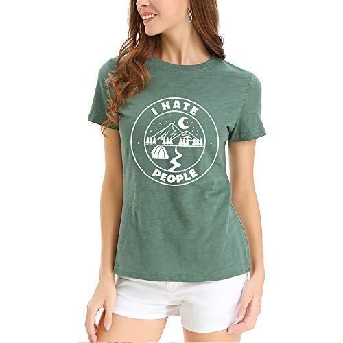 Beeck - Camiseta de manga corta para mujer verde militar L