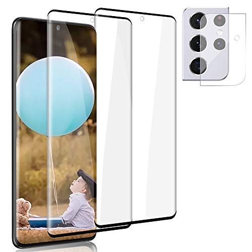 """[2+1 Pack] Galaxy S21 Ultra Screen Protector + Lens Protector,9H Hardness/No Bubble/Ultra-Clear/Ultrasonic Fingerprint Sensor Tempered Glass Screen Protector for Samsung Galaxy S21 Ultra 5G 6.8"""""""