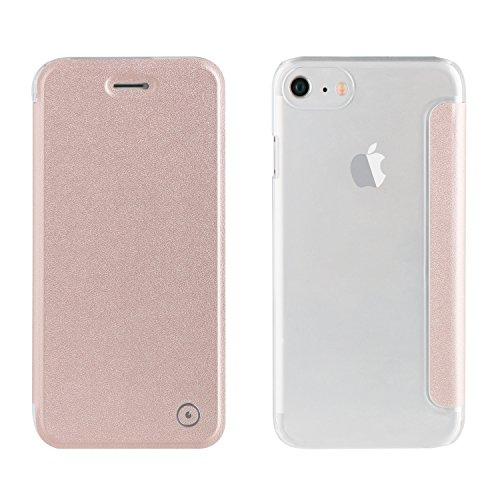 Muvit Folio - Funda con Parte Trasera Transparente para Apple iPhone 8/7/6S/6, Color Rose Gold