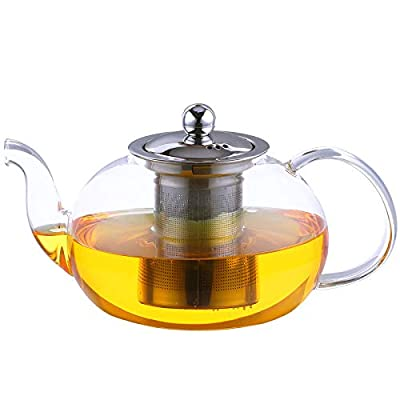Antner 1200ml/40oz Glass Teapot with Removable Infuser, Stovetop Safe Tea Kettle Microwave & Dishwasher Safe Loose Leaf Tea Maker