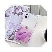 Zhiia透明グラデーション大理石電話ケースFor iPhone11 Pro MaxX XR XS Max 7 8 Plus SE2020クリアシャイニーグリッターバックカバー-T4-For iPhone 11
