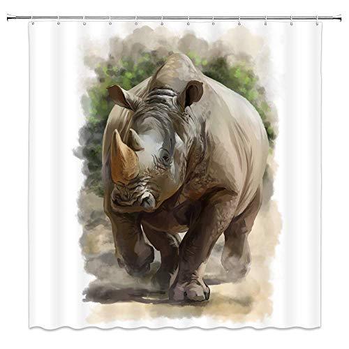 lovedomi Rhinoceros Decor Duschvorhang Tierthema Nashorn weißer Hintergr& 182,9 x 182,9 cm wasserdichtes Polyestergewebe Badezimmer-Zubehör Gardinen mit 12 Haken